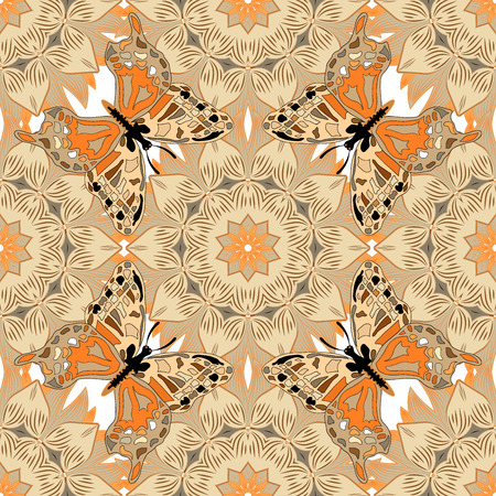 beige background: Mandalas background. Brown, beige. Butterfly. Raster illustration.
