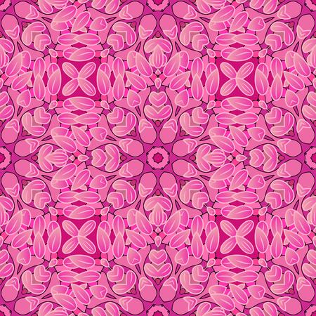 elegance: Elegance seamless pattern with petal flower. Raster illustration. Pink.