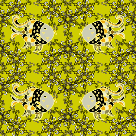Doodles yellow fishes. Seamless background. Beige, white. Light green. Stock Photo
