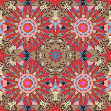 pink and brown background: Mandalas background. Red, pink, brown. Petal. Vector illustration. Illustration