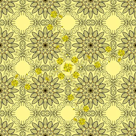 rounds: Mandalas background. Yellow. Rounds. Petal flowers. Vector illustration. Illustration