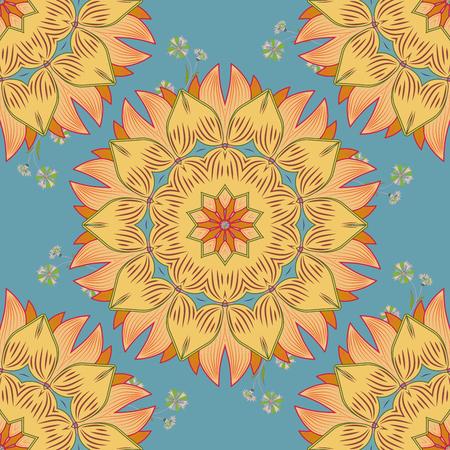 raster illustration texture. Mandala yellow and beige. Bue background.