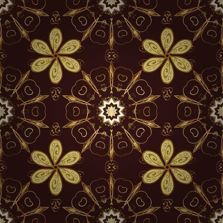 dark brown background: Seamless vintage pattern on dark brown background with golden elements.