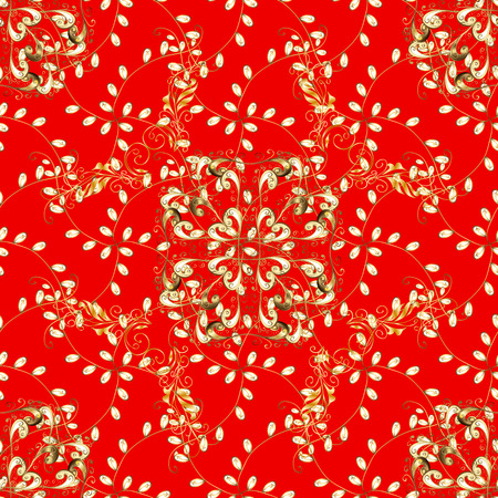 Vintage pattern on red background with golden elements. Illustration