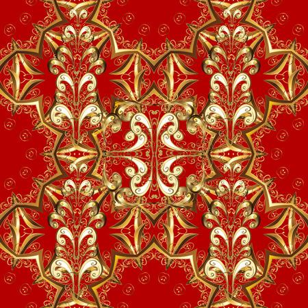 Vintage pattern on red background with golden elements. Illustration