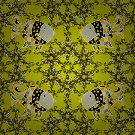 Doodles yellow fishes. Seamless background. Vector. Beige, white. Light green.