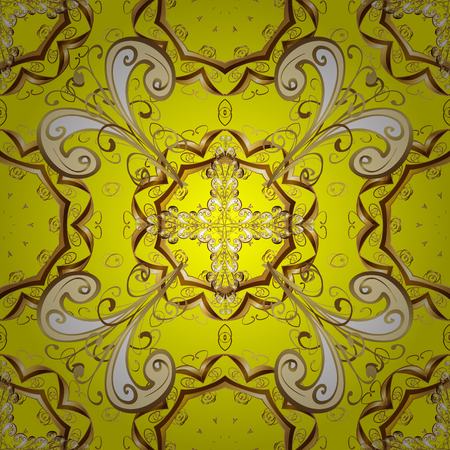 Seamless vintage pattern on yellow background with golden elements. Illustration