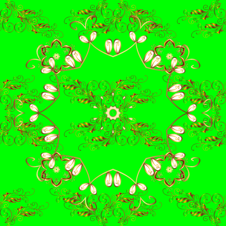 rococo: Seamless abstract floral pattern, golden-green style. Stock Photo