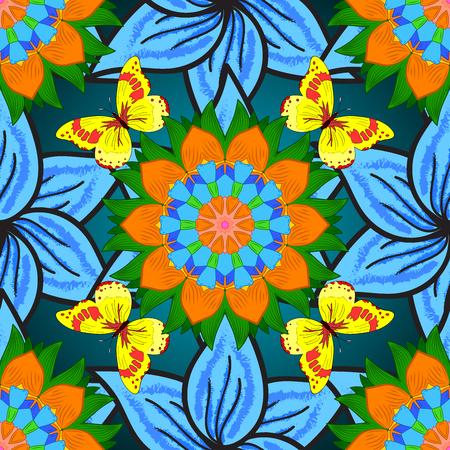 mariposas amarillas: de fondo sin fisuras. mandalas de flores círculo sin patrón en verde, azul, naranja con mariposas amarillas.
