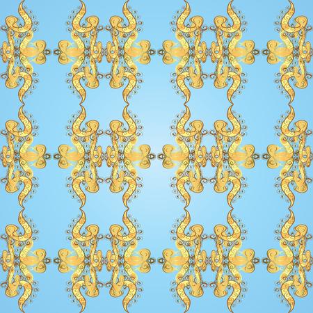 gold floral: Seamless vintage pattern on light blue background with golden elements.