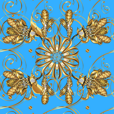 Damask seamless floral pattern. Royal wallpaper. Flowers, crowns on a blue background.