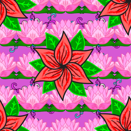 Seamless floral pattern with pink water lilies. Green leaves. Red petals flower. Vector. Illustration