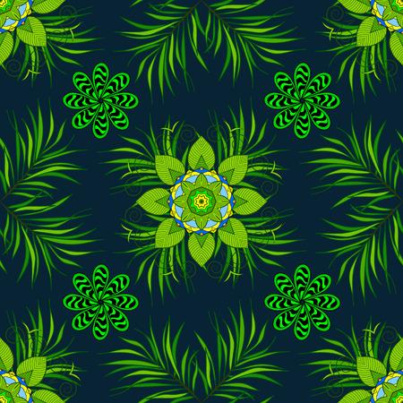 Green transparent circles in regular order - flower pattern - semaless background. Dark background.