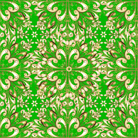 victorian wallpaper: Luxury vintage damask baroque seamless pattern. Floral vector green background wallpaper illustration with vintage gold decorative flowers, leaves and ornaments in Victorian style. Illustration