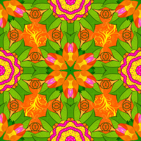 Seamless floral mandala pattern in pink, turquoise green and pale orange on floral background.