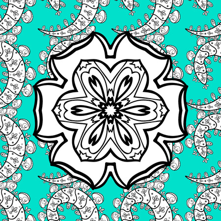 Circular seamless pattern. Ornamental texture mandala. Blue and white graphics, painted by hand. Illustration