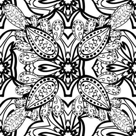 on white: Mandalas background. Black, white. Doodles. Vector illustration. Illustration