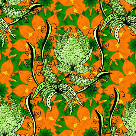 green flowers: Floral bakcground with orange and green petals. vector illustration texture.