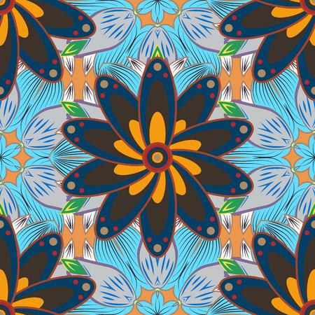 petals: Mandalas background. Blue, orange. Petals. Vector illustration.
