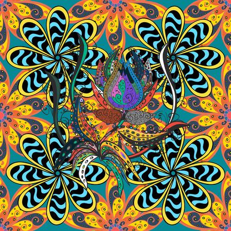 blue stripe: Mandalas background. yellow, orange, blue. Stripe. Vector illustration. Illustration