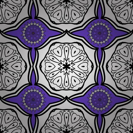 Mandalas background. White, lilac, blue. Doodles. Vector illustration. Illustration