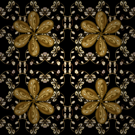 Vintage pattern on black background with golden elements. Round shadow.