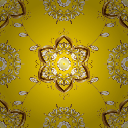 Vintage pattern on yellow background with golden elements. Round shadow.