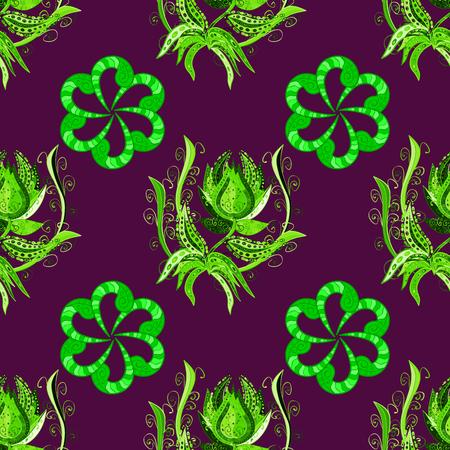 green purple: Mandalas background. Green, purple. Flower. Raster illustration.