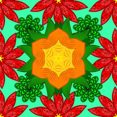 red yellow: Mandalas background. Red, yellow, orange, green. Raster illustration.