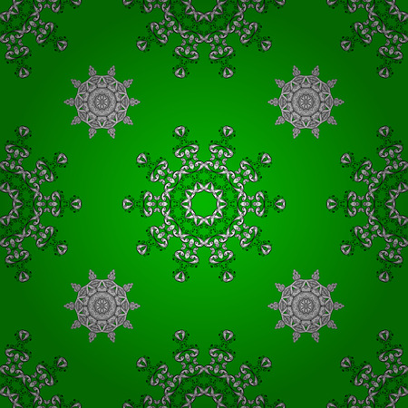 Seamless background. Circle flower mandalas seamless pattern in black white and green, vector