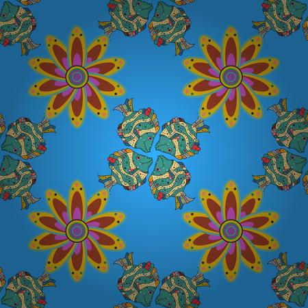 Mandalas background. Red, pink, blue. Fish. Petal flower. Vector illustration.