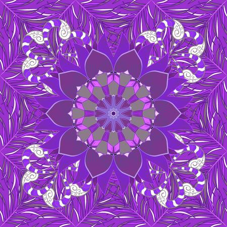 Vintage pattern on mandala round background with petal flower. Violet, lilac mandalas background. Butterfly.