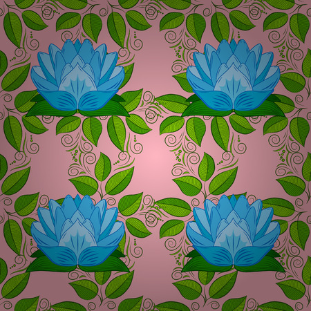 allover: Oriental pattern of stylized pink lotus flowers and curved leaves on light blue background. Radial gradient shape. Vector seamless repeat. Illustration