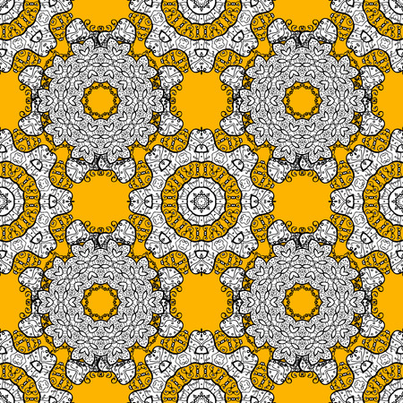 laced: Repeating geometric tiles with mandala. Raster laced decorative background with floral and geometric ornament. Seamless oriental ornamental pattern. Indian or Arabic motive. Brown, orange, white