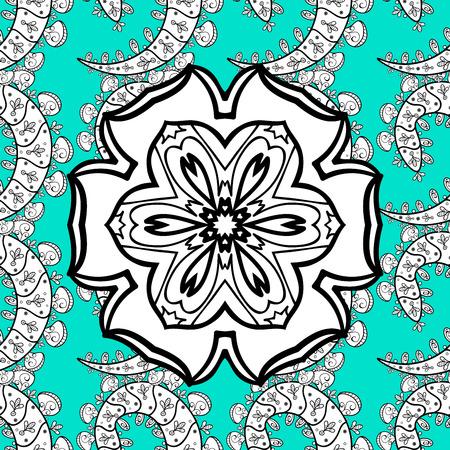 motivos navideños: Patrón circular sin fisuras. Mandala de la textura ornamental. Gráficos azules y blancos, pintados a mano. Copo de nieve, Año Nuevo, Navidad?