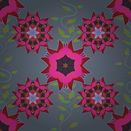 Oriental seamless pattern of mandalas. Vector blue, pink and grey background. Radial gradient shape.
