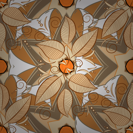 bay: Motley bay leaves repeat pattern on beige, white and brown background vector. Radial gradient shape.