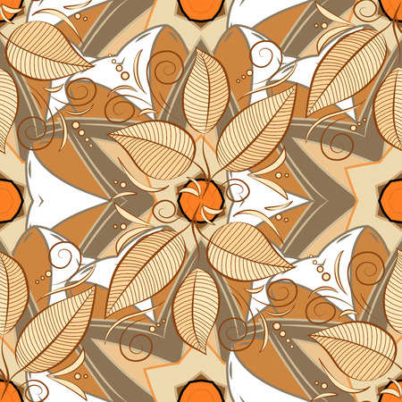bay: Motley bay leaves repeat pattern on beige, white and brown background.