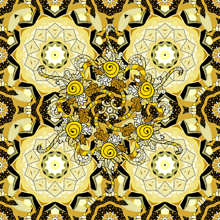 golde: Seamless background. Circle flower mandalas seamless pattern in dim white and yellow.