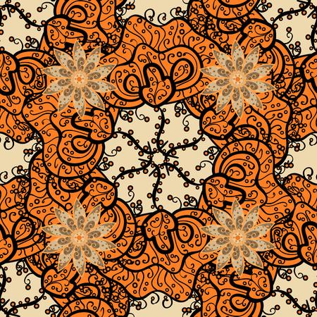 Mandalas background. Brown, orange. Waves. Vector illustration. Illustration