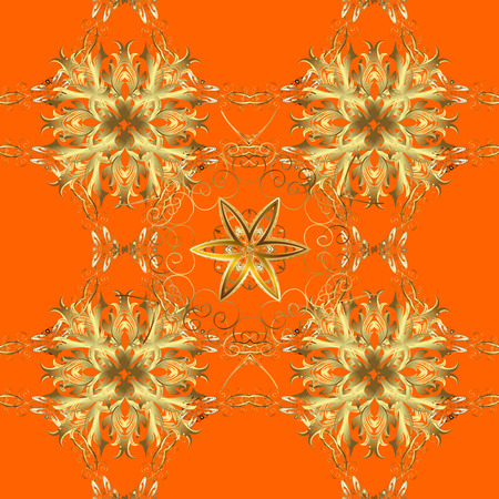 Seamless vintage pattern on orange background with golden elements. New Year, Christmas, Snowflake. Raster. Stock Photo