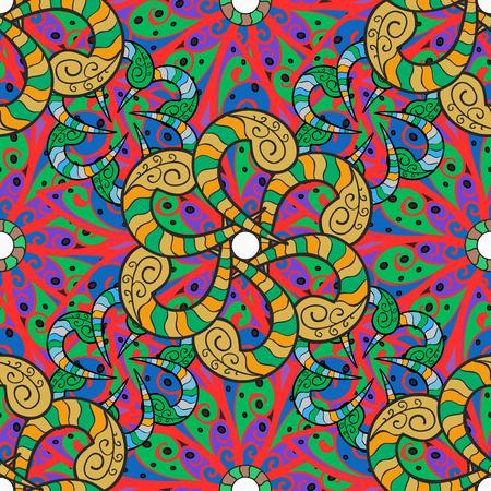 ornage: Mandalas background. Red, pink, yellow, blue. Raster illustration.