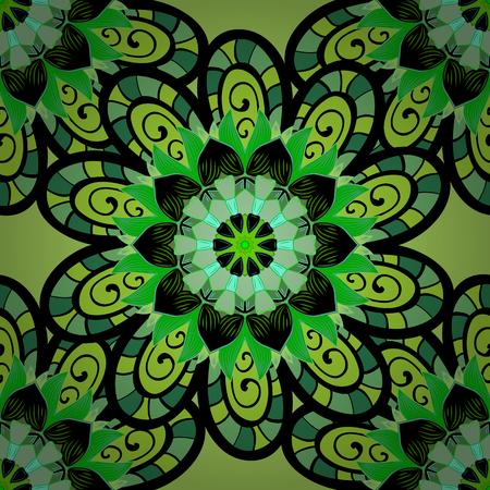 Vector seamless pattern with petals flowers on green. Blue. Mandala. Petals flower. Radial gradient shape. Illustration