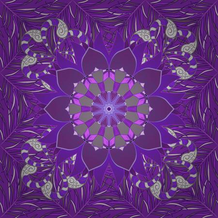 Vintage pattern on mandala round background with petal flower. Violet, lilac mandalas background. Butterfly. Radial gradient shape.