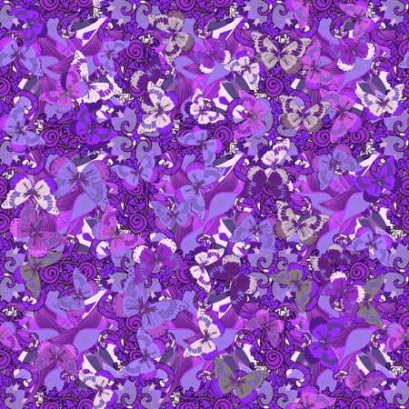 vector seamless abstract pattern. Lilac. Butterfly. Flower.