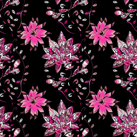 black and pink: Seamless floral pattern. vector illustration texture. Black, pink.