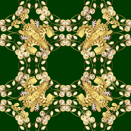 Seamless vintage pattern on green background with golden elements. Raster.