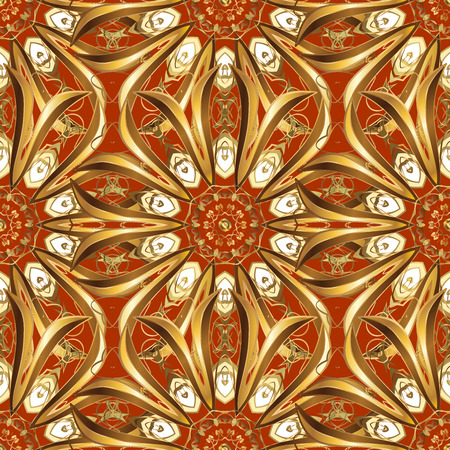 rufous: Seamless damask pattern, classic, ginger and rufous background. Raster. Red, carroty, foxy, Judas-colored. Christmas, New Year, snowflake.