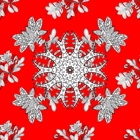 Seamless floral doodles structure. White raster ornament on red background