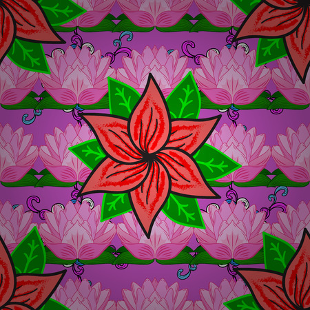 water lilies: Seamless floral pattern with pink water lilies. Green leaves. Red petals flower. Vector. Radial gradient shape.